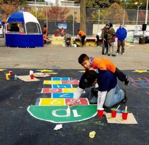 Kids building their playground