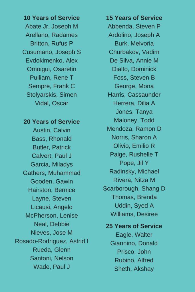 Employee work anniversaries
