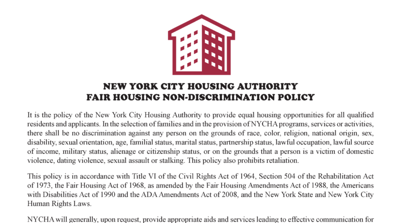 NYCHA's fair housing policy