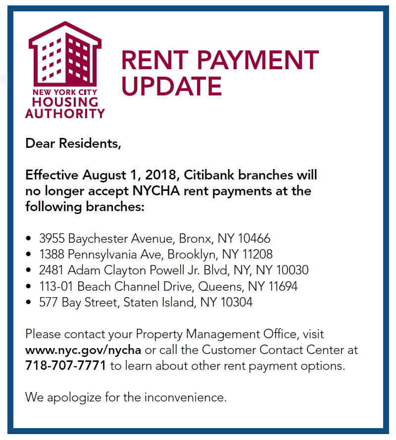notice nycha rent payments no longer accepted at certain citibank
